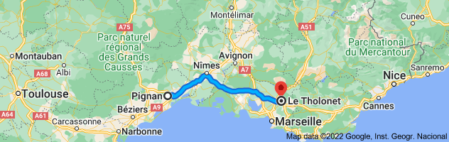Map from Pignan, 34570, France to Le Tholonet, 13100, France